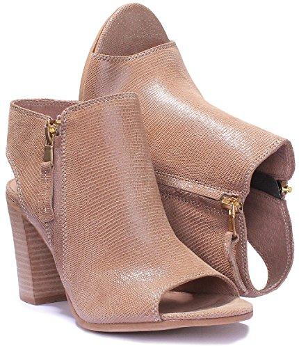 Justin Reece Damen Leder Lace Up Medium Ferse Schuhe Brogue Block Beige SS19