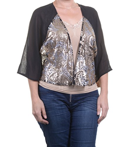 Ellen Tracy E-Black Combo Top Blouse Dolman Sleeve Size XS NWT - Movaz