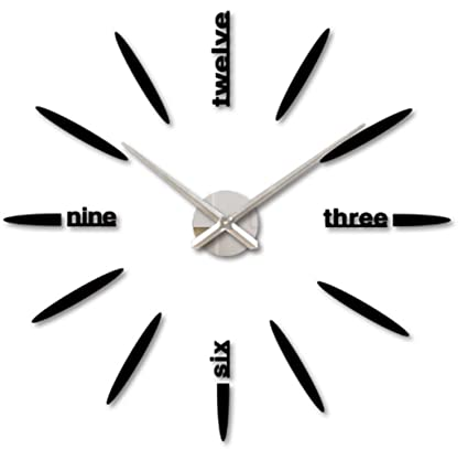 FHD Modern DIY Large Number Wall Clock 3D Mirror Surface Wall Sticker Clock Home Office Room
