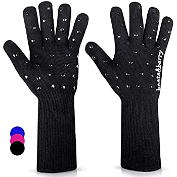 Beets & Berry Oven Gloves Heat Resistant Baking Gloves 1 Pair Oven Mitts Cut Resistant Cooking Gloves with Extra Long Sleeve & Silicone Non-Slip (Black)