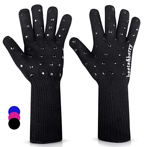Beets & Berry Oven Mitts Heat Resistant Grilling Gloves 1 Pair BBQ Gloves Cooking Gloves Long Sleeve Cut Resistant Oven Gloves Silicone Non-Slip (Black)
