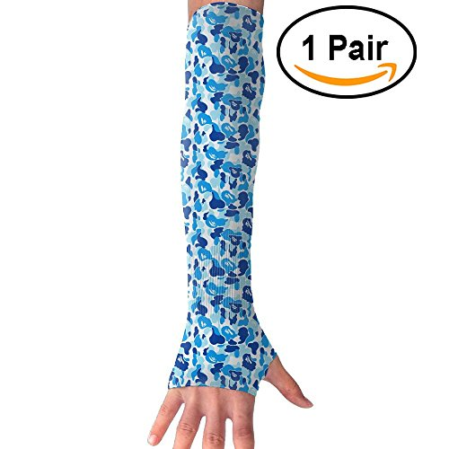ZIGU Sports Arm Sleeves Uv Protection Sunscreen Neutral&Youth Arm Cooling Or Warm Arm Sleeves Covers For Outdoor Activities Riding Hiking Running Golf Hiking Fishing Blue Camo (One Pair)