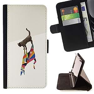 For LG Nexus 5 D820 D821 Case , Gato Polígono Arte Artístico Acuarela Negro- la tarjeta de Crédito Slots PU Funda de cuero Monedero caso cubierta de piel