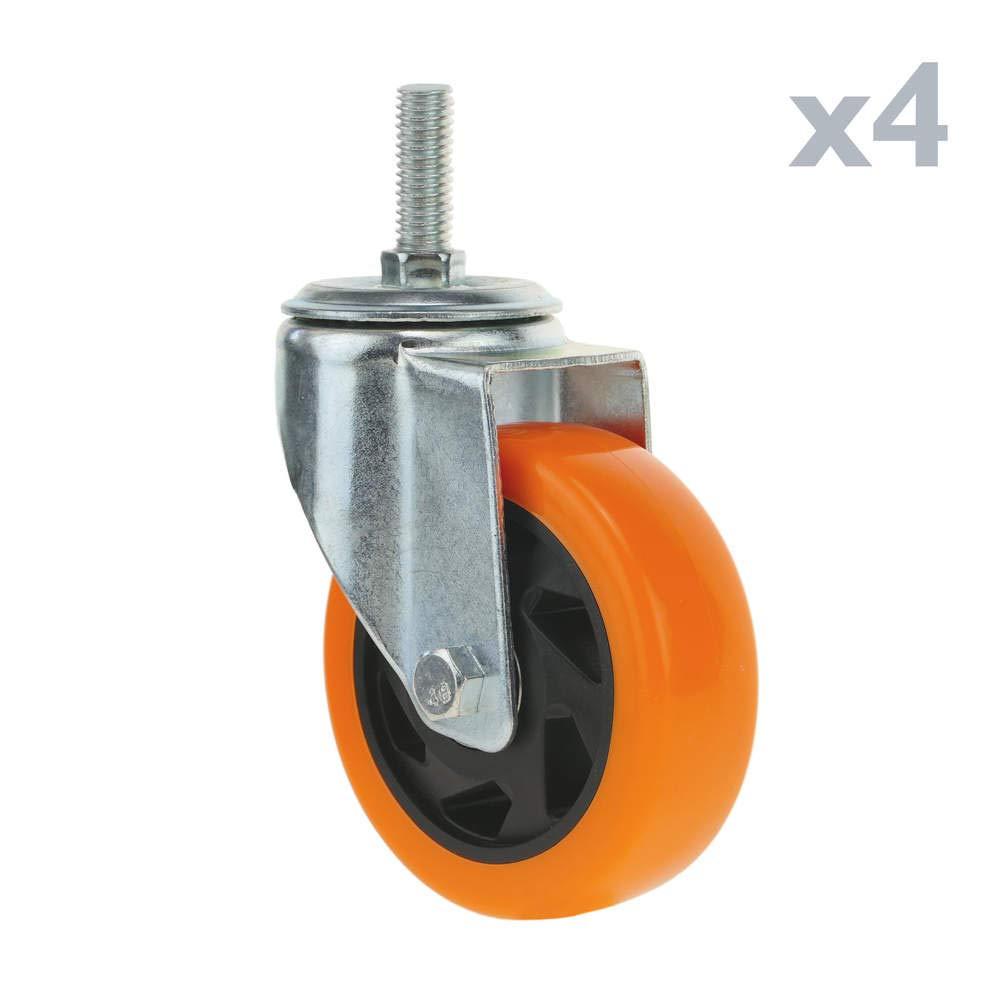 PrimeMatik - Rueda pivotante Industrial de Poliuretano sin Freno 100 mm M12 4-Pack PrimeMatik.com