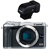 Canon EOS M6 Mirrorless Digital Camera Body, Silver - With Canon EVF-DC1 Electronic Viewfinder