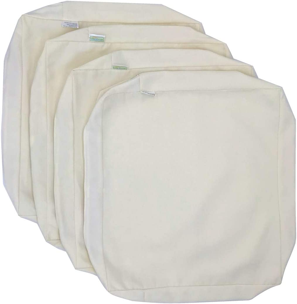 CozyLounge Cream White Outdoor Water Repellent Patio Chair Cushion Seat Pillow Covers 22 x20 x4 4 Covers
