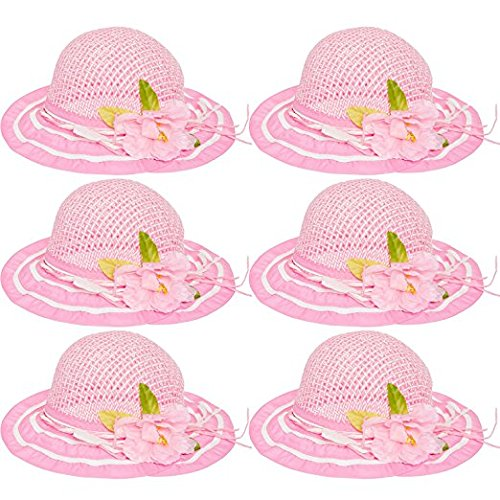 6 Pack Cutie Collections Girls Tea Party Flower Costume Sun Hats (Multicolor) (Pink(6 pack))