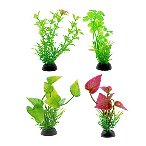 Set Aquarium Fish Plants (Saim 4Pcs Aquarium Plastic Plants Set Artificial Underwater Grass Plant Fake Plant Fish Tank Decor Ornaments, 4