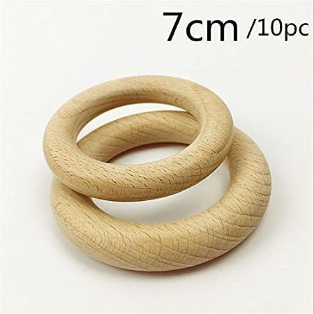 10PCS / lot 98mm Bracelet Teether en bois rond bagues en bois inachevées pour DIY- Bague en bois naturel Toss pour peinture cadeau de Noël Mamimami Home