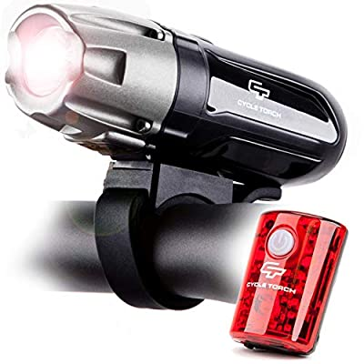 Cycle Torch Shark 550R USB Rechargeable Bike Light Set With Removable Battery- FREE USB LED Taillight Included- POWERFUL 550 Lumens - Fits ALL Bicycles, Hybrid, Road, MTB, Easy Install & Quick Release