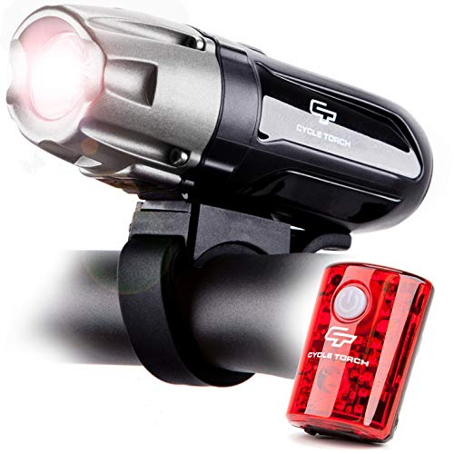 Cycle Torch Shark 550R USB Rechargeable Bicycle Lights Set, Super Bright  Headlight & Taillight, LED Tail Light Included, 2400mah Battery, 4 Light  Mode