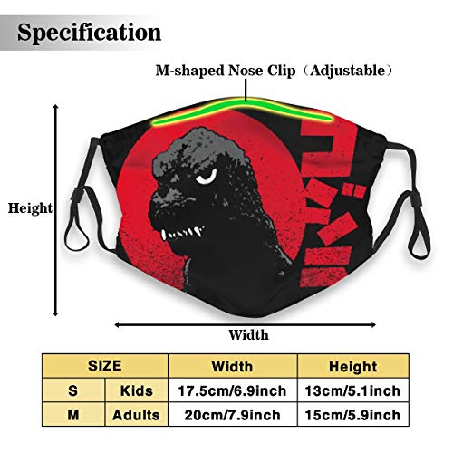 UxaliO Fashion Printed Mask Godzilla Dust Mask with Filter Element Anti-Dust Mask