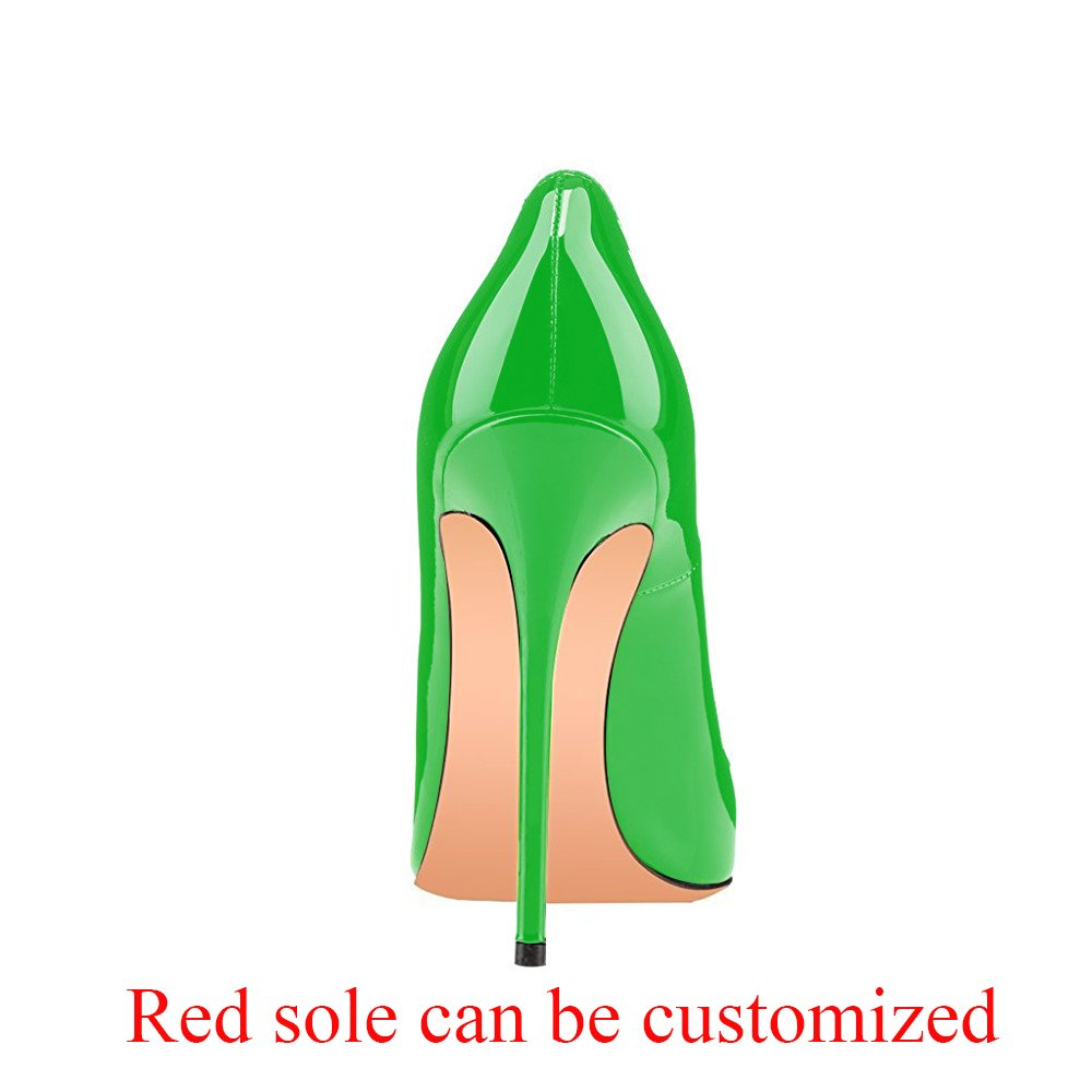Modemoven Women's Pointy Toe High Heels Slip On Stilettos Large Size Wedding Party Evening Pumps Shoes B071YQBRGF 5 B(M) US|Green