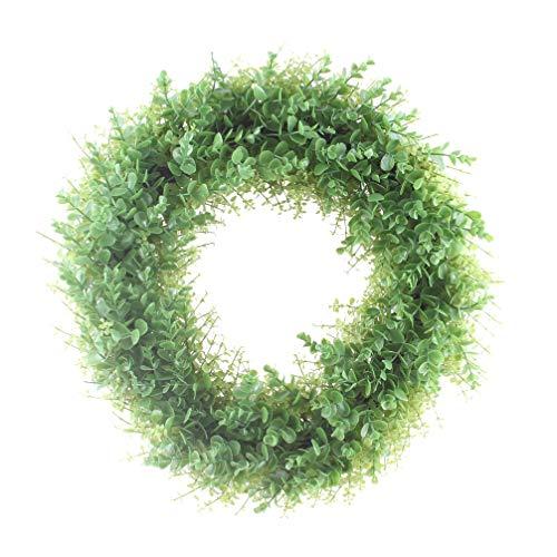 (LiQiDécor Artificial Green Leaves Wreath - 20