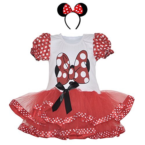 Birthday Girl Red-White Polka Dot Dress and Headband Set (Small-Red/wht HB) (Girls Mini Mouse Costume)
