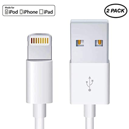 2 Pack-Apple iPhone/iPad Charging/Charger Cord Lightning to USB Cable[Original Apple MFi Certified] Compatible iPhone X/8/7/6s/6/5s/5c/SE,iPad ...