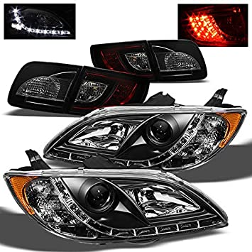 Para 2004 - 2009 Mazda 3 Sedán DRL LED proyector faros delanteros + rojo ahumado LED cola luces 2005 2006 2007 2008: Amazon.es: Coche y moto