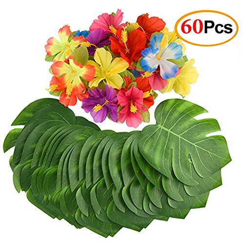 Mandys 60PCS party supplies 8 palm leaves and Hibiscus Flowers for Hawaiian Luau Party Jungle Beach Decorations