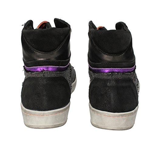 SERAFINI sneakers donna 37 EU nero tessuto argento pelle DZ239