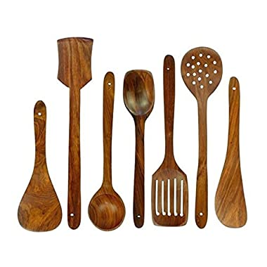 Chef Collection, Premium 7 Pieces Wooden Cooking and Serving Utensils/Spatulas set  Small,Medium,Long plain,Dotted,Slotted Spatulas, Rice Spoon, Ladle Nonstick Wooden Gadgets  Great Gift