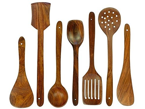 (Chef Collection, Premium 7 Pieces Wooden Cooking and Serving Utensils/Spatulas set |Small,Medium,Long plain,Dotted,Slotted Spatulas, Rice Spoon, Ladle|Nonstick Wooden Gadgets| Great Gift)