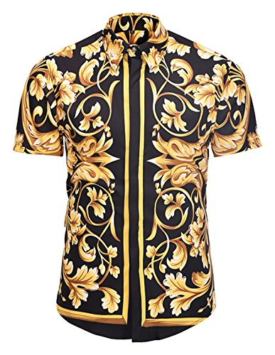 (PIZOFF Men's Luxury Short Sleeve Golden Floral Print Button Down Dress Shirt AL003-25-M)