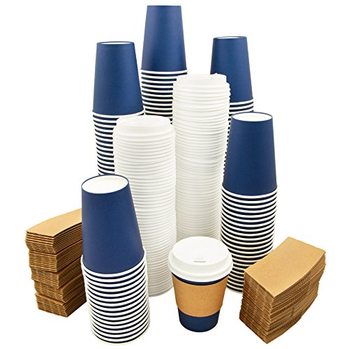 Dichon Innovations 80 Pack Disposable Paper Coffee Cups with Lids and Sleeves, Hot or Cold To Go Travel Beverage Cups, Recyclable, 12 ounce Navy Blue