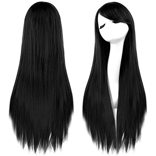 Long Black Wig Costumes (Rbenxia 32'' Women's Cosplay Wig Hair Wig Long Straight Costume Party Full Wigs Black)