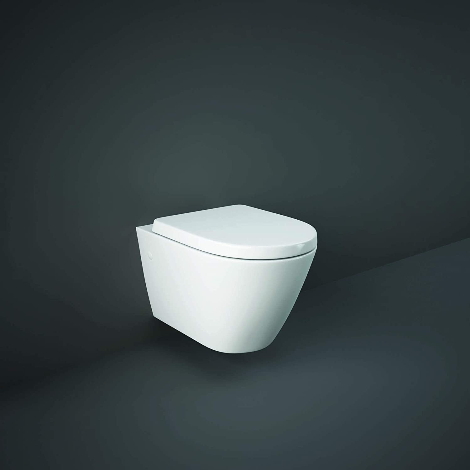 Rimless RAK Resort Compact D Shape Wall Hung Toilet WC Soft Close Seat 520