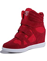 D2C Beauty Women's Round Toe Velcro Lace Up Wedge Sneakers