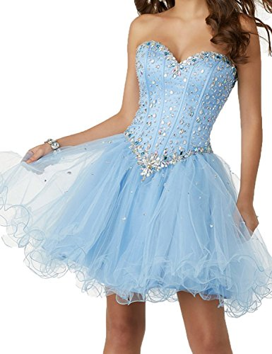 Homecoming Evening Gorgeous Sky Formal Blue Rhinestone Gown Short BessWedding Women's BHS048 Dresses qvY5w5tR