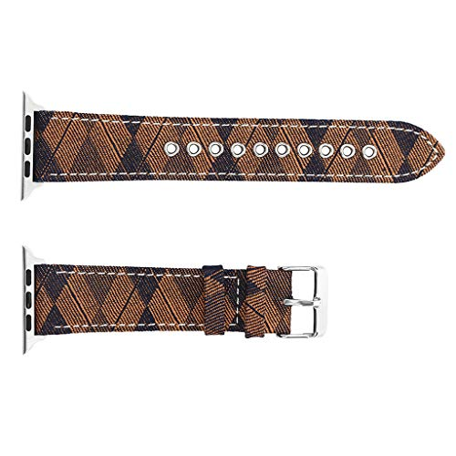 Clearance Sale!DEESEE(TM)for Apple Watch Series 1/2/3/4 42/44mm Deluxe Leather Denim Bracelet Watch Strap (Brown)