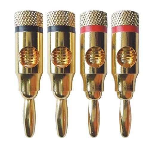 Yiwa 4/20/24 Pcs 24K Gold Banana Plug Audio Haut-parleur Câble Connecteur
