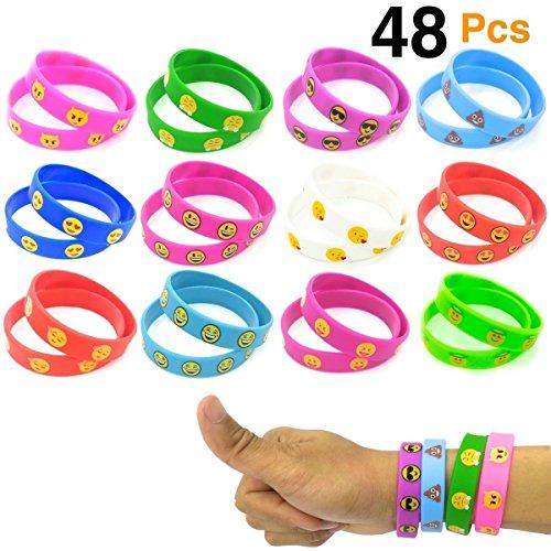 O'Hill Emoji Wristband Silicone Emoticons Bracelets for Kids