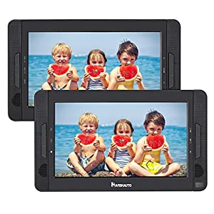 "NAVISKAUTO 10.1"" Dual Screen DVD Player Ultra-thin Car Backseat Headrest Portable DVD Player-Black 114B"