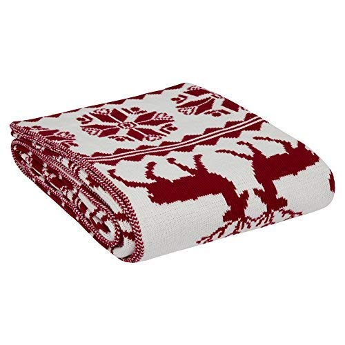 NEWSHONE Knitted Throw Blanket with Sherpa for Bed and Couch 50 x 60 Inch (Knit-Reindeer Thin)