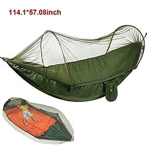 Camping Hamaca con cremallera mosquiteros egymcom Multi-funcional al aire libre pop-out Hamaca de camping para una persona Over 440LB (290*145)