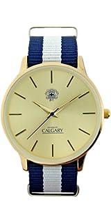 Relojes Calgary Icon Vintage. Reloj Vintage para Hombre, Correa de Tela Azul y Blanco, Esfera…