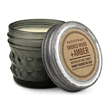 Relish Collection Soy Wax Jar Candle, Gray, 3-Ounce, Smoked Amber & Wood