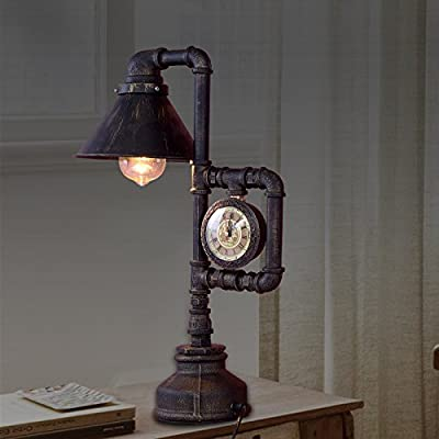 JRRB Retro table lamp pipe Cafe bedroom wind lamp decoration to do the old bar clock table lamp industrial lamp water