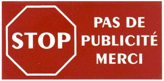 8 cm X 2 cm Rouge Plaque boite aux lettres PAS DE PUBLICIT/É adh/ésive