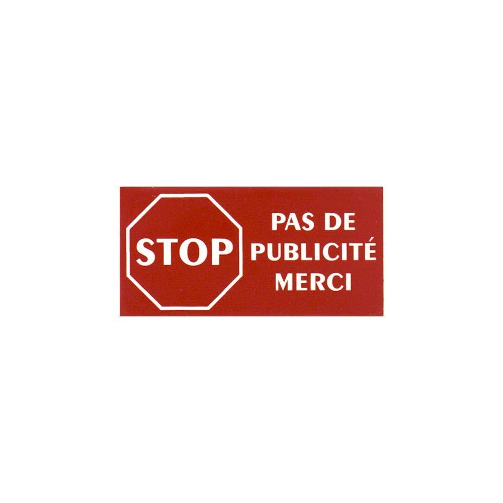 Plaque adh/ésive STOP PUBSauvons la plan/ète pour boite aux lettres couleur vert lettres blanches 8 x 4 cm Gravure laser