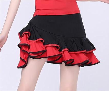 peiwen Minifalda de Entrenamiento de Baile Latino para Mujer/Falda ...