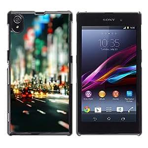 EJOY---Cubierta de la caja de protección la piel dura para el / Sony Xperia Z1 L39 / --Bokeh Calles