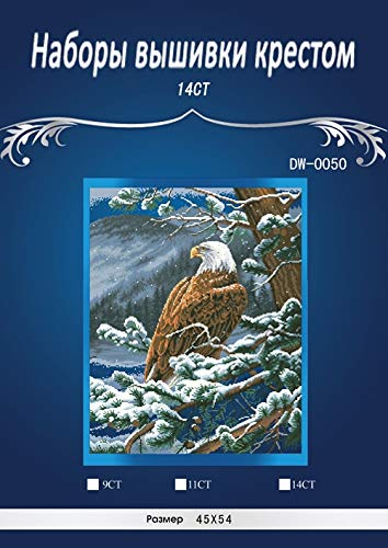 Zamtac oneroom 14CT top Quality Lovely Counted Cross Stitch kit Eagles Eye View Snow Eagle Dimensions 35117, Eagle's Eye View - (Cross Stitch Fabric CT Number: 14CT unprinting aida)