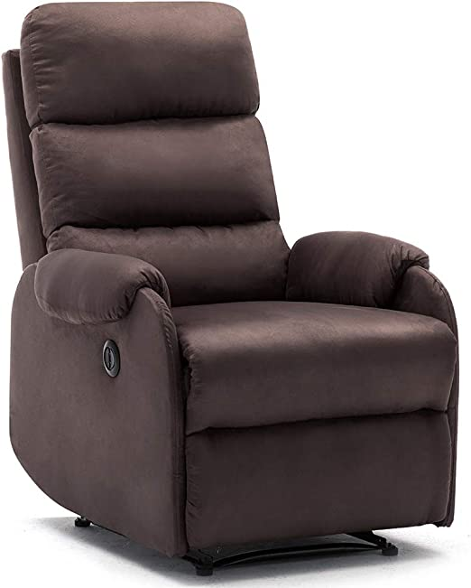 Bonzy Home Power Recliner Chair with Overstuffed Backrest Velvet Fabric Electric Recliner Chair Home Theater Seating Bedroom & Living Room Chair