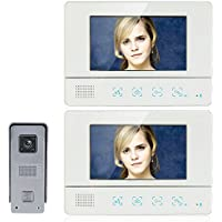 Mountainone 7 Inch Wired Video Door Phone Entry System Color LCD Screen and Home Security Camera Video Door Intercoms 1-camera 2-monitor Night Vision