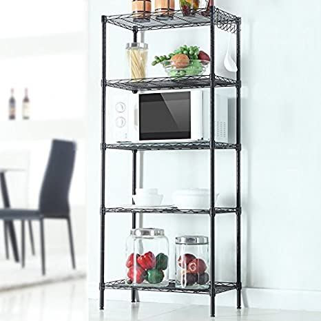 Cu ALightup Multifunction 5 Tier Wire Shelving Unit Utility Cart Kitchen  Storage Cart For Microwave Oven