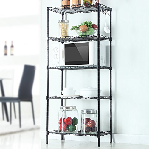 Alightup Multifunction Wire Shelving Unit Utility Cart Kitchen Storage Cart for Microwave Oven Bathroom Shelves Living Room Storage Shelves Changeable Assembly Floor Standing Black 5 Layers by Alightup