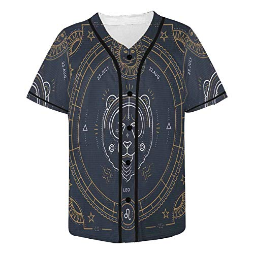 INTERESTPRINT Men's Leo Zodiac Baseball Jersey Button Down T Shirts Plain Short Sleeve 3XL
